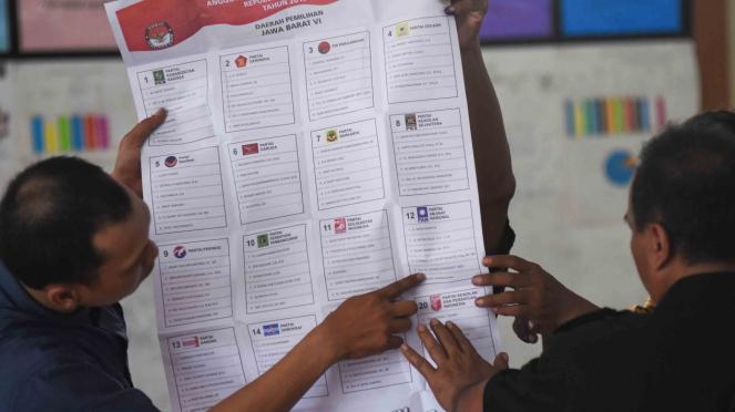 Petugas KPPS memperlihatkan suara Pemilu 2019.
