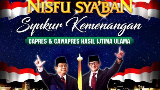 Undangan syukuran Prabowo-Sandiaga