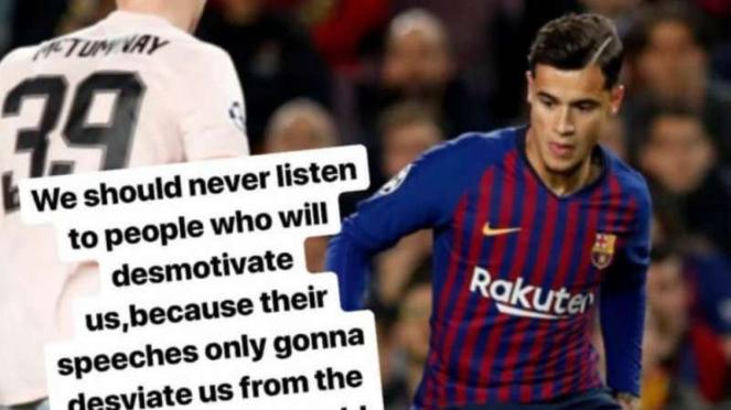 Pernyataan bintang Barcelona, Philippe Coutinho, menanggapi kritik publik