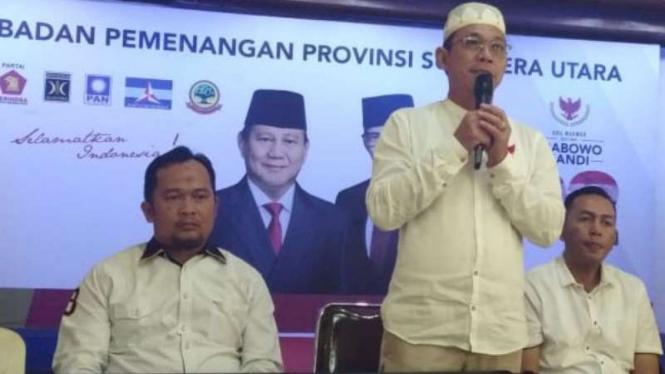 Ketua Badan Pemenangan Provinsi Sumut, Prabowo-Sandi, Gus Irawan Pasaribu.