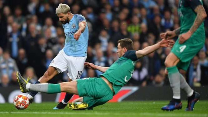 Laga perempatfinal Liga Champions antara Manchester City vs Tottenham Hotspur