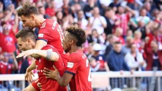 Pemain Bayern Munich rayakan gol ke gawang Werder Bremen.
