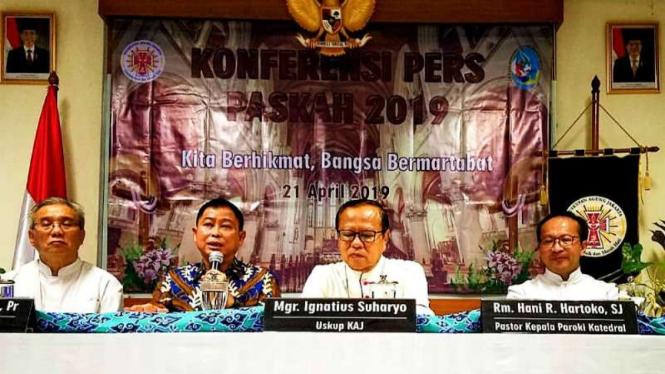 Konferensi pers ibadah Paskah di Gereja Katedral, Jakarta