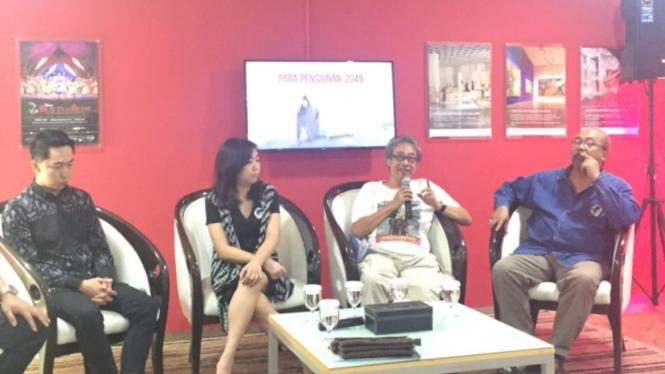 Butet Kartaredjasa dalam konferensi pers lakon Para Pensiunan 2049