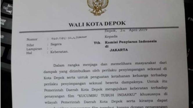 Surat edaran Pemkot Depok larang film Kucumbu Tubuh Indahku di bioskop Depok