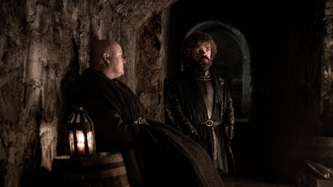 Tyrion Lannister dan Lord Varys dalam Game of Thrones Season 8.
