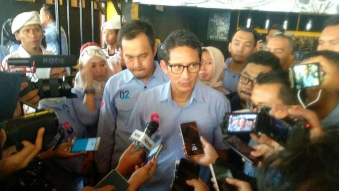 Cawapres nomor urut 02 Sandiaga Uno di Tangerang.