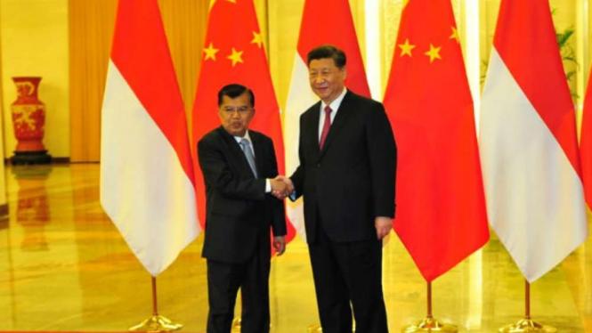 Wakil Presiden Jusuf Kalla dan Presiden China Xi JInping.