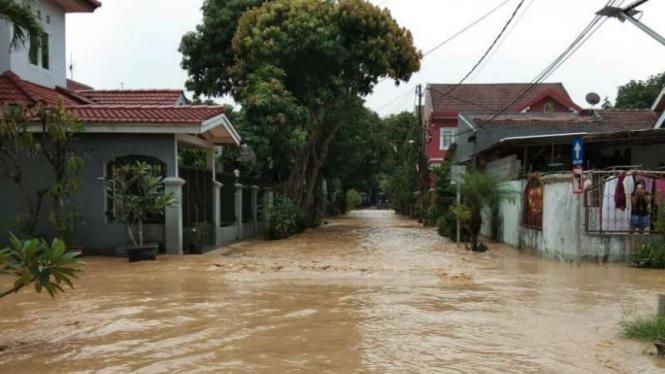 Ilustrasi perumahan yang terendam banjir.