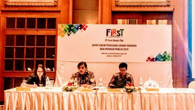 Presiden Direktur First Media, Harianda Noerlan, saat ditemui usai RUPST, di Jakarta, Jumat, 26 April 2019.