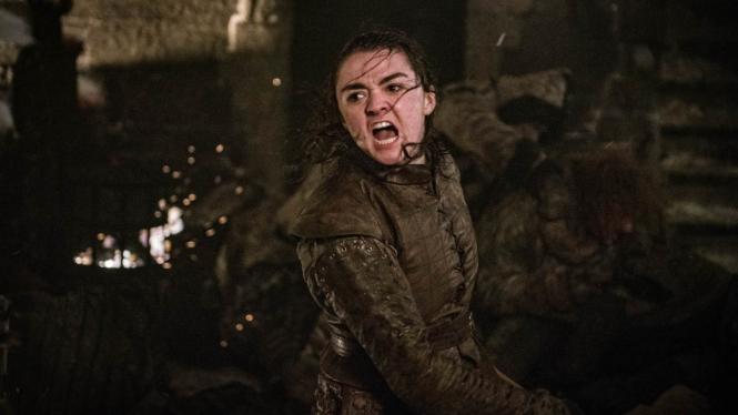 Maisie Williams sebagai Arya Stark dalam Game of Thrones Season 8.