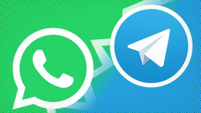 Ilustrasi Whatsapp dan Telegram.