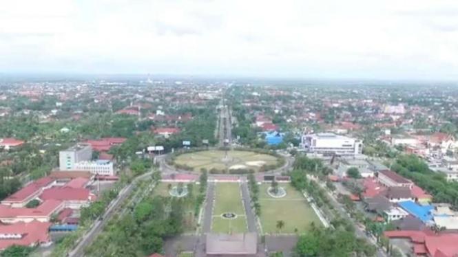 Kota Palangkaraya di Kalimantan Tengah tampak dari angkasa.