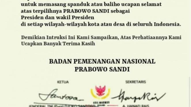 Hoax instruksi BPN Prabowo-Sandi memasang spanduk selamat kepada Prabowo-Sandi