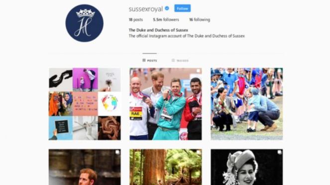 Akun Instagram Meghan Markle dan Harry