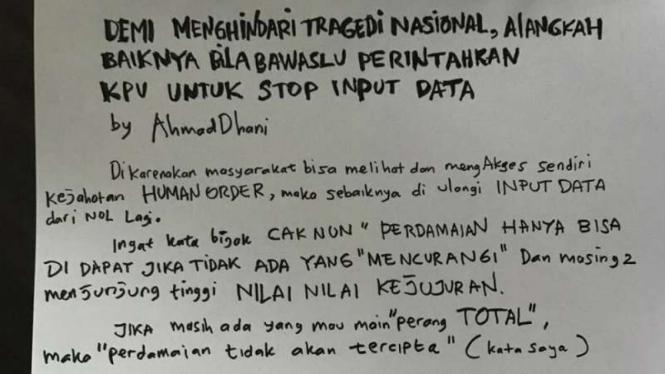 Salinan surat Ahmad Dhani Prasetyo