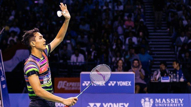 Aksi tunggal putra Indonesia, Jonatan Christie.