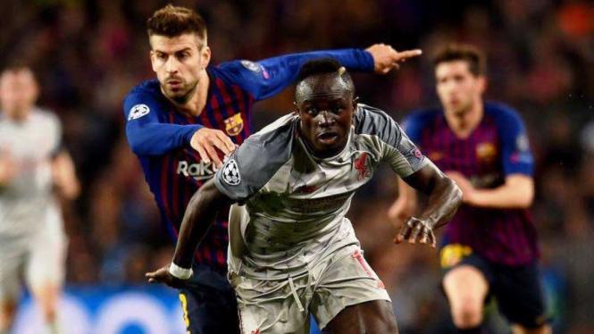 Winger Liverpool, Sadio Mane, dalam laga melawan Barcelona
