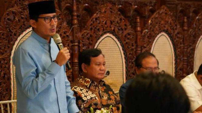 Capres Prabowo Subianto dan Cawapres Sandiaga Uno