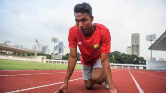 Sprinter Indonesia, Muhammad Zohri melakukan sesi latihan di Stadion Madya, komplek Gelora Bung Karno