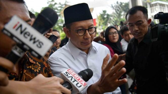 Menteri Agama Lukman Hakim Saifuddin saat tiba untuk menjalani pemeriksaan di kantor KPK, Jakarta, Rabu 8 Mei 2019.