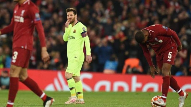 Ekspresi kecewa megabintang Barcelona, Lionel Messi