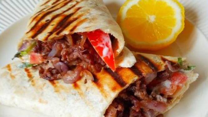 Beef shawarma wrap.