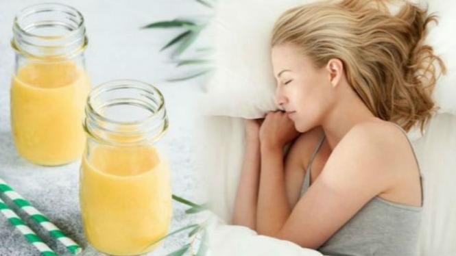 Ilustrasi minuman pembakar lemak saat tidur.