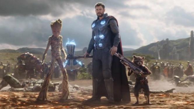 Thor, Rocket Racoon dan Groot di Infinity War.