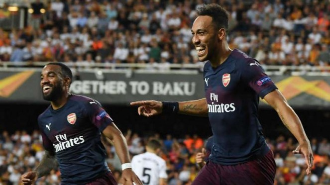 Striker Arsenal, Pierre Emerick-Aubameyang dan Alexandre Lacazette.