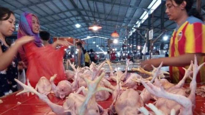 Pedagang ayam di Pasa Anyar, Tangerang, Sabtu, 11 Mei 2019.