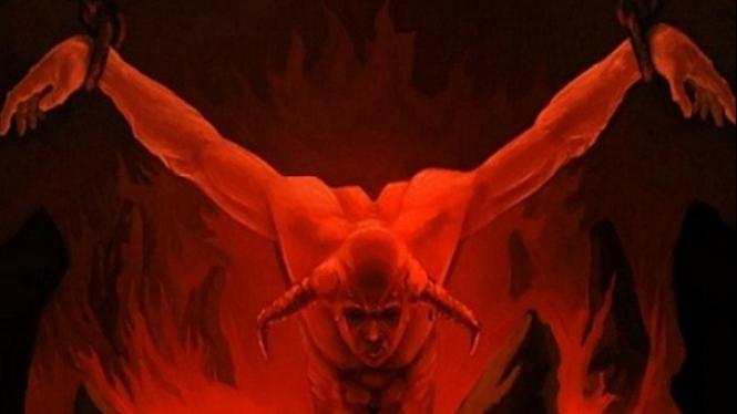 Ilustrasi setan dibelenggu.
