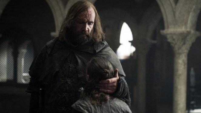 The Hound dan Arya Stark di Game of Thrones Season 8.