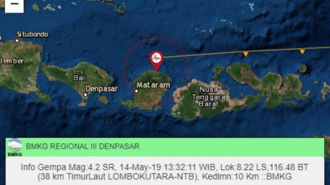 Gempa bumi bermagnitudo 4,0 mengguncang Lombok Utara, Nusa Tenggara Barat, pukul 14.19 Wita, Selasa, 14 Mei 2019.