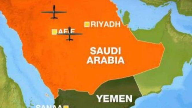 Pangkalan minyak Arab Saudi diserang Houthi menggunakan drone.