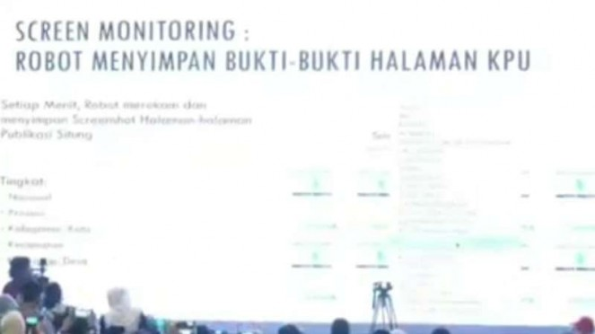 Screen monitoring robot penyimpan bukti-bukti halaman KPU.