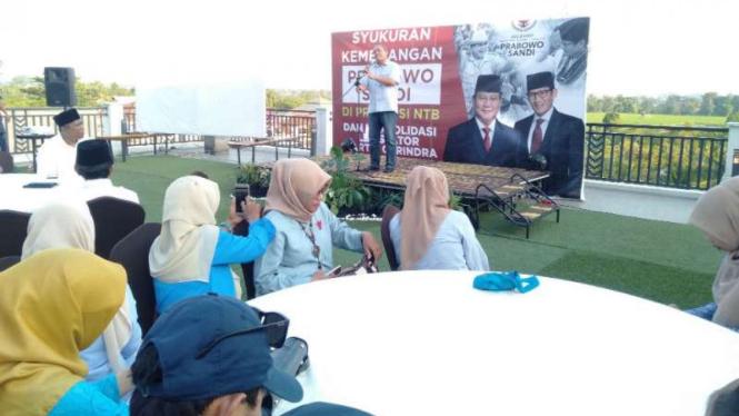 Syukuran kemenangan Prabowo-Sandiaga di NTB.