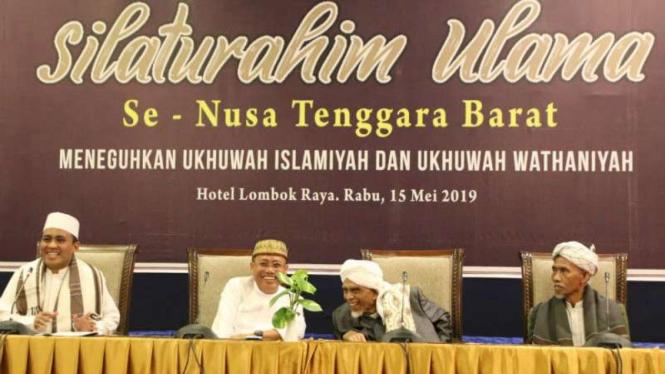 Silaturahmi ulama se-Nusa Tenggara Barat tolak people power, Rabu, 15 Mei 2019.