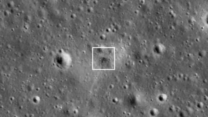Tangkapan layar permukaan Bulan lokasi jatuhnya Beresheet