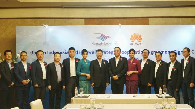 Garuda Indonesia Jajaki Kerja Sama dengan Huawei Technologies