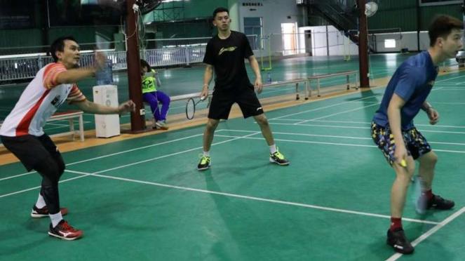 Suasana latihan tim Piala Sudirman Indonesia di Nanning, China.