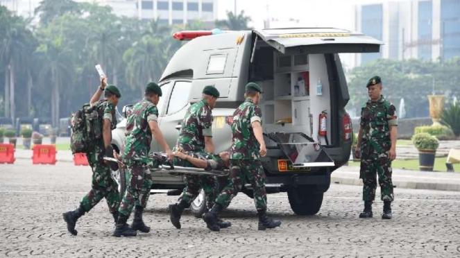 TNI menggelar latihan pengamanan tahap penghitungan suara Pemilu 2019