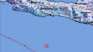 Gempa di laut tenggara Pangandaran, Jawa Barat.