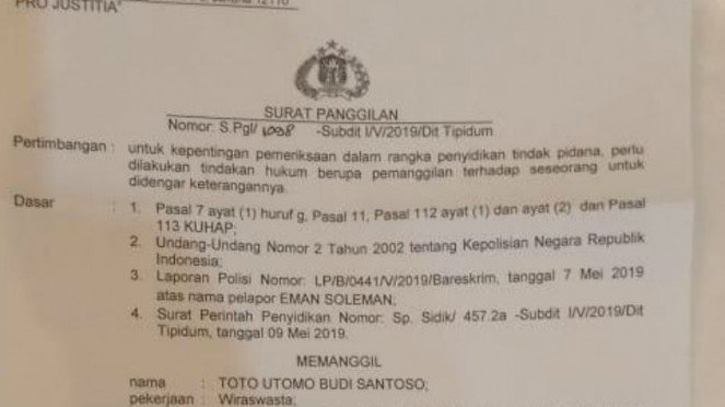 Beredar surat panggilan untuk Direktur Satgas BPN