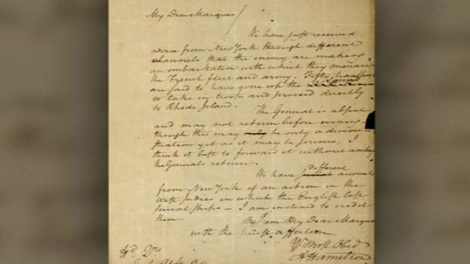 Surat berharga Alexander Hamilton.