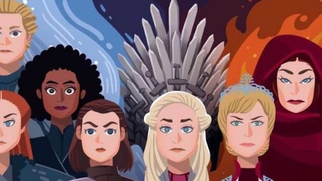Karikatur para tokoh di serial Game of Thrones (Davies Surya/BBC)