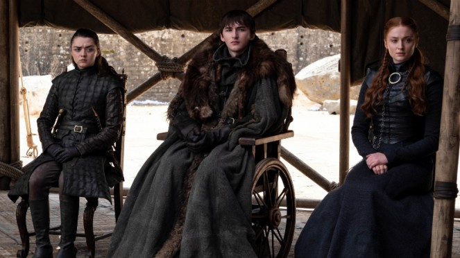 Sansa, Bran dan Arya Stark di Game of Thrones Season 8.