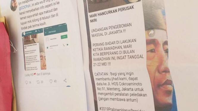 Cetakan tangkapan layar screenshot sebuah halaman media sosial tentang seruan aksi pengemboman kantor KPU di Jakarta.