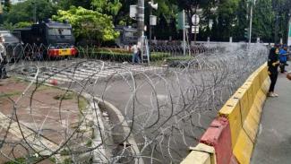 Suasana jalan Imam Bonjol, di dekat kantor KPU, Jakarta, Selasa, 21 Mei 2019.