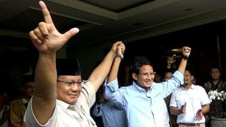 Prabowo dan Sandiaga Uno saat menggelar keterangan pers di Rumah Kertanegara.